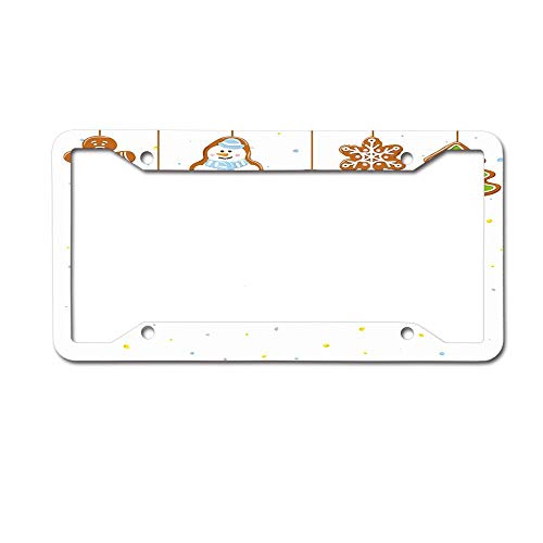 MichelleSmithred Kids Toy Snowman and Gingerbread Man License Plate Frame Aluminum Metal Tag for US Canada Standard 4 Holes Screws