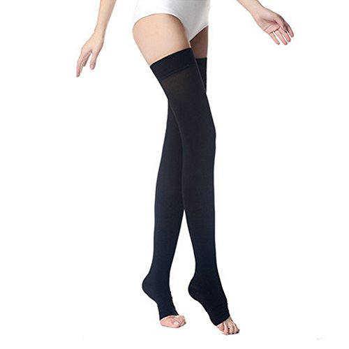 - PPXGOGO  Thigh High Compression Socks, Firm Support 20-30 mmHg Gradient Compression Stockings with Silicone Band. Treatment for Running, Edema, Varicose Veins, Pregnancy, Nursing.(Black-Open,XL)