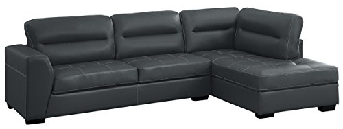 Homelegance Terza Breathable Faux Leather Sectional, Gray