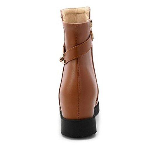 Ankle Brown Hidden Boots KemeKiss with Women Comfortable Heel Low 377 Zipper qTxTH4wv