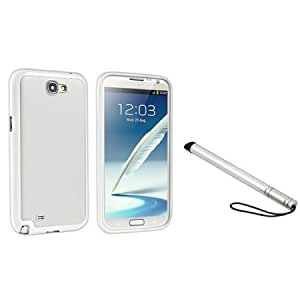 Bloutina Everydaysource Compatible with Samsung Galaxy Note II N7100 White TPU / White Hard Hybrid Case with FREE Silver...