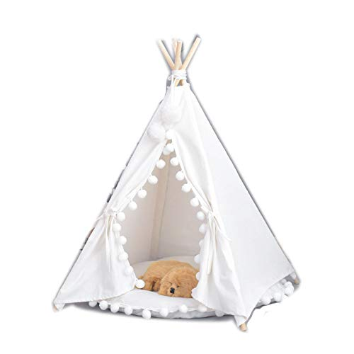 Amio Striped Kennel Detachable Dog House Teddy golden Hair Bear Bear Pet Small Dog Cute Cat Nest Pet Tent white hair ball