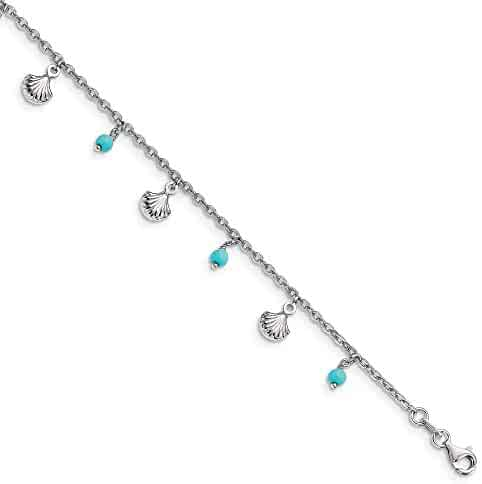 9c8838422 925 Sterling Silver Blue Turquoise Adjustable Chain Plus Size Extender 9 10  Anklet Ankle Beach Bracelet