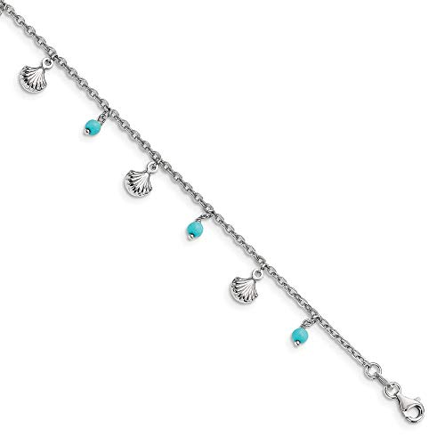 (925 Sterling Silver Blue Turquoise Adjustable Chain Plus Size Extender 9 10 Anklet Ankle Beach Bracelet Fine Jewelry Gifts For Women For Her)