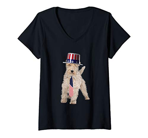 Womens Wire Fox Terrier 4th Of July Dog In Top Hat and Tie V-Neck T-Shirt