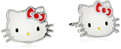 Hello Kitty Silver Enamel Red Earrings