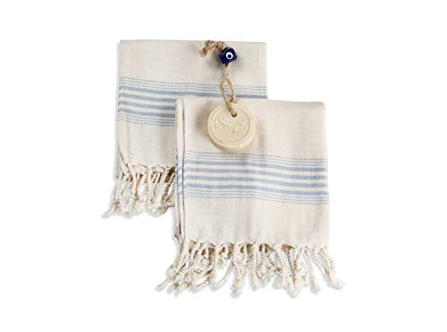 Ahenque Set of 2 Linen Premium Quality Tea Towel, Eco-friendly Hand Towel, Hand-loomed Kitchen Towel, Cream Kitchen Towel Set, Face Towel Set (Lighter Blue)