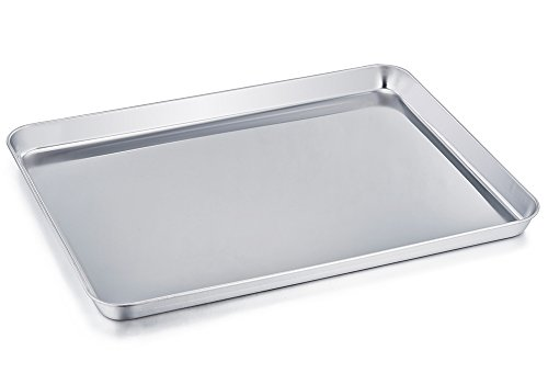 - TeamFar Baking Sheet, Stainless Steel Baking Pan Cookie Sheet, Healthy & Non Toxic, Rust Free & Less Stick, Easy Clean & Dishwasher Safe