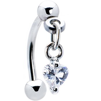 Body Candy Top Down Clear Dangle Heart Eyebrow ()