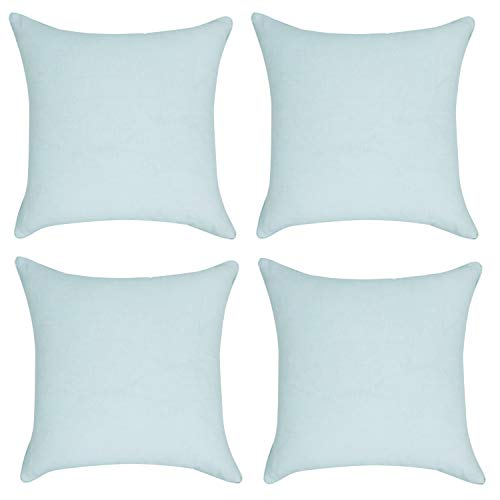 or Light Mint Jean Decorative Throw Pillow Case Cushion Cover Pillowcase for Sofa 18 x 18 Inch, Set of 4 ()