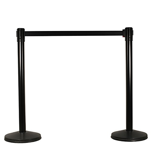 Visiontron 101SB-BK Single Line Retractable Belt PRIME Stanchion, 2 Posts, w/10' Belt & Standard Belt End by Crowd Control ()