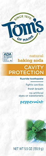 Fluoride Natural Kosher Anticavity Toothpaste - Tom's of Maine Natural Toothpaste with Baking Soda and Fluoride, Peppermint, 5.5 Ounce 2-Count