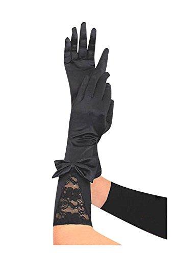 Krautwear® Damen Lange Schwarze Satin Handschuhe Abendhandschuhe mit Spitze Und Schleife