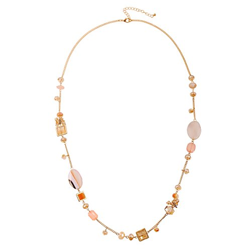 - D EXCEED Trendy Gold Tone Long Light Peach Gemstone Seed Bead Faux Pearl Charm Necklace for Women 34""