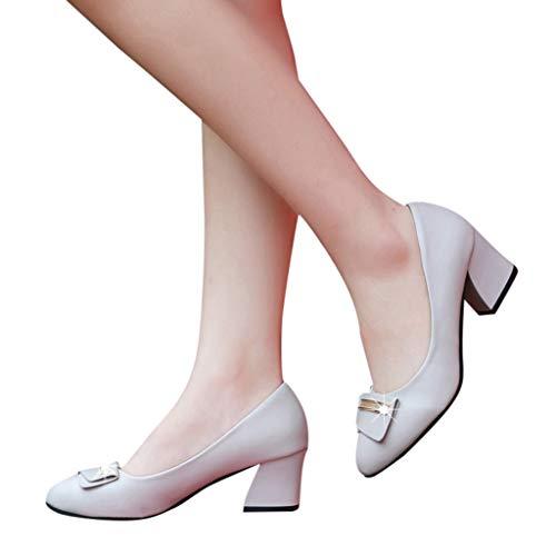 Printemps Modaworld Pointu On Mariée Dames Beige Mariage Bas Epais Talons Slip Pompes Chaussures De Femmes qZgxEI8nRw