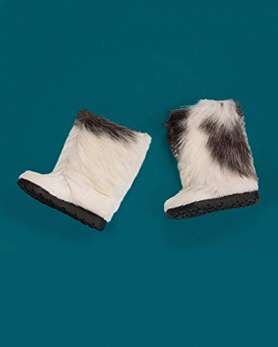 (Long Fur Winter Boots, Eskimo Boots, Snow Furry Mukluks, Yeti Boots, White/Gray Goat Fur Boots, Long Boots, Friend Gift, Girlfriend Gift LITVIN)