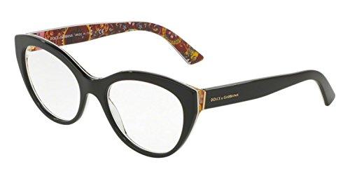 Dolce & Gabbana Montures de lunettes 3246 Pour Femme Rose Print / Black, 51mm Noir