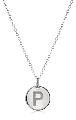 Amazon Collection14k White Gold Initial'P' Pendant Necklace, 18'