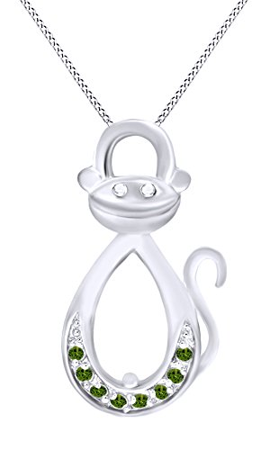 (AFFY Simulated Green Peridot Infinity Monkey Pendant Necklace in 14K White Gold Over Sterling Silver)