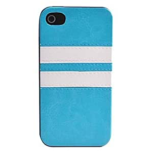 GHK - Joyland Two Lines Pattern PU Leather Full Body Case for iPhone 4/4S(Assorted Color) , Pink
