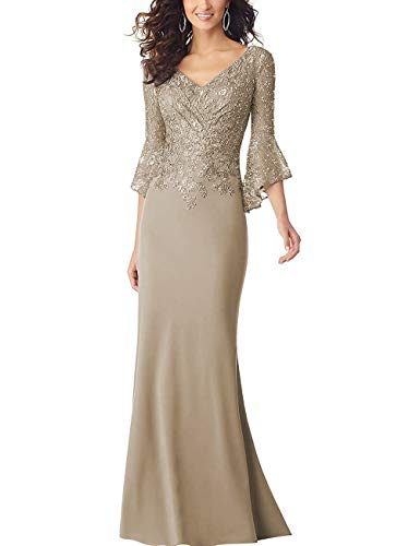 PearlBridal Women's Bodycon Mermaid Mother of The Bride Dresses Lace Ruffle Sleeves Long Evening Party Gown Champagne Size 12 (Best Mother Of The Bride Gowns)