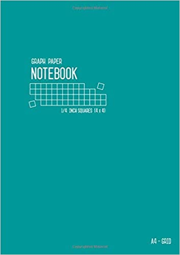 amazon com graph paper notebook a4 1 4 inch squares teal large