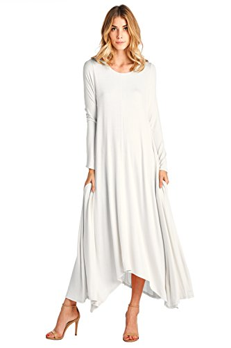 (12 Ami Solid Long Sleeve Pocket Loose Maxi Dress White XL)