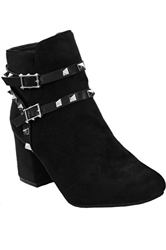 Heel Faux BOUTIQUE Smart Strap Suede Boots ® Studded Shoes FANTASIA Block Spike Black Ladies Ankle Z4Yvdwa