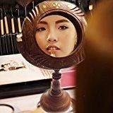 IndiaBigShop Handmade Wooden Makeup Mirror Tabletop Swivel Vanity Mirror with Inlay Work 14 Inch
