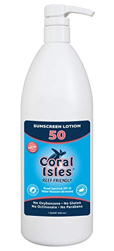 (SPF 50 Quart 32 oz Coral Isles REEF FRIENDLY & Safe Sunscreen Lotion Bulk - Broad Spectrum, NO Oxybenzone, NO Octinoxate, NO Parabens, Water Resistant 80 min)