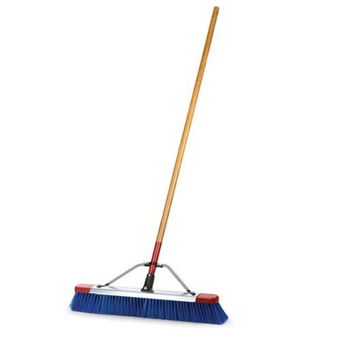 AM Leonard Indoor/Outdoor Push Broom with Full Scraper - 24 Inch Head