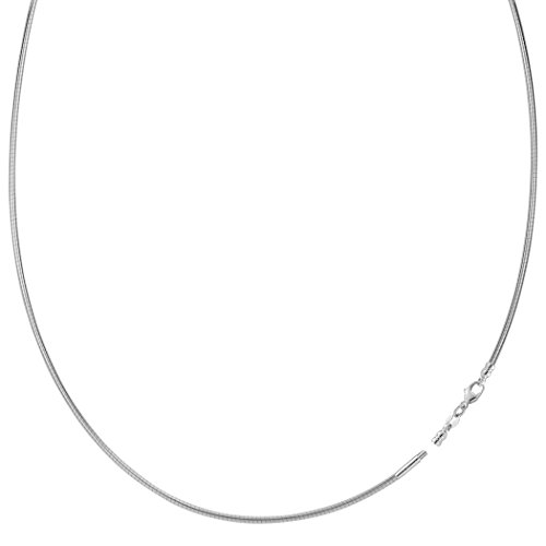 White Gold Round Omega Chain - Round Omega Chain Necklace With Screw Off Lock In 14k White Gold, 1.5mm