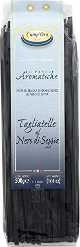 Camp'Oro Le Aromatiche Black Squid Ink Tagliatelle Italian Pasta, Black Squid Ink, 17.6 Ounce (Pasta Dried)