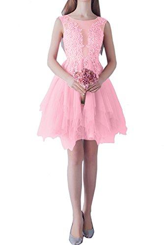 Perlenrosa kurz elegant Rundkragen Ballkleid Brautjungfernkleider Damen Ivydressing Spitze Abendkleider Xv4Iw8nxS