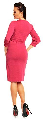 Happy Mama. Maternity Vestido premamá cuello en V cruzado mangas 3/4. 251p Fucsia