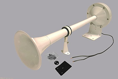 Viking Horns V410W Loud 115 Decibels With Single White Trumpet Electric Horn for Marine, Boats, and many other (Viking Horns For Sale)