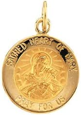 18.25 mm Round Sacred Heart of Mary Pendant Medal with 18 inch Chain in Sterling Silver