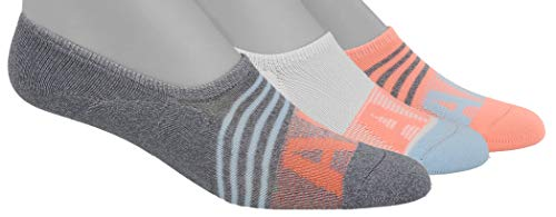 adidas Womens Superlite Super No Show Sock (3-Pair), Grey - Clear Onix Marl/Ice Blue/Sun Glow/White, Medium, (Shoe Size 5-10)
