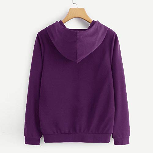 Casual O Imprimer Femmes Tops Longues Manches Violet Neck Blouse Sweat 99native Chat UwyZ5q6W6g