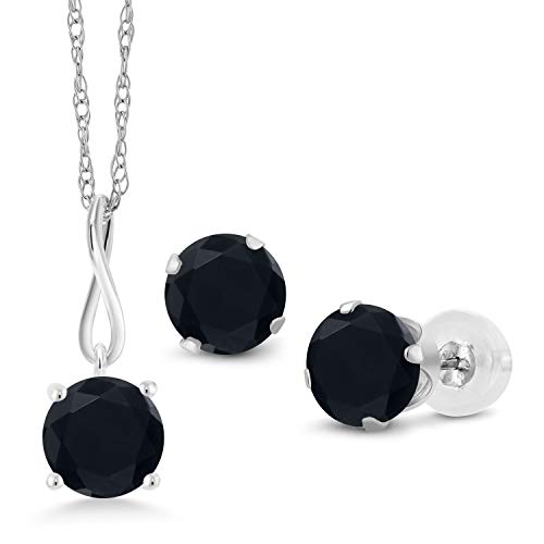 (Gem Stone King 2.40 Ct Round Black Onyx 10K White Gold Pendant Earrings Set With Chain)