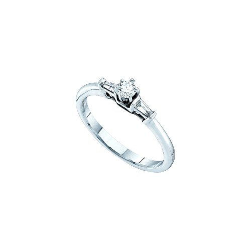 14kt White Gold Womens Round Diamond Solitaire Bridal Wedding Engagement Ring 1/5 Cttw by JawaFashion