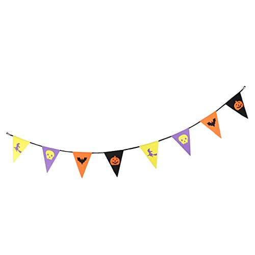 Spirt Halloween (MagiDeal Halloween Banner Hallowmas Pumpkin Bunting All Hallows' Day Haunted House Evil Spirt Props Decoration Felt 2.5m)