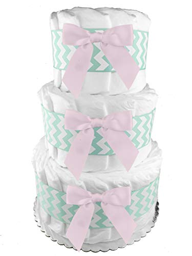 Mint and Pink 3-Tier Diaper Cake - 50 Size 1 Diapers - Girl Baby Shower Gift - Centerpiece ()
