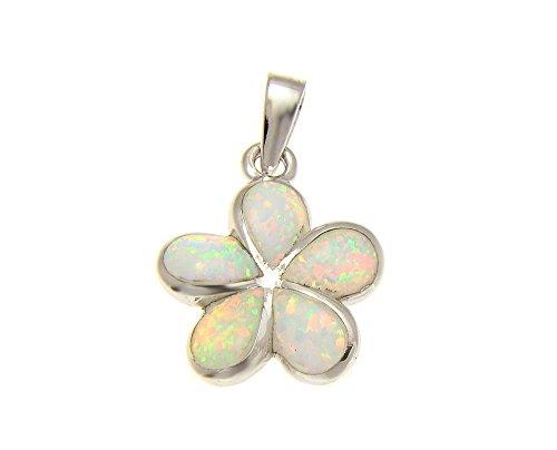 Pendant Mm 15 Plumeria (925 Sterling silver white synthetic opal Hawaiian plumeria flower pendant 15mm)