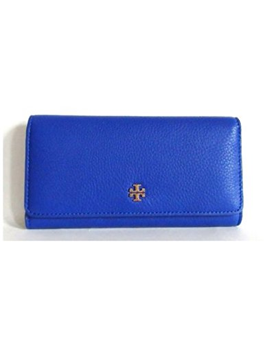 Tory Burch Wallet Mercer Envelope Continental Leather Blue Jelly Blue Wristlet by Tory Burch