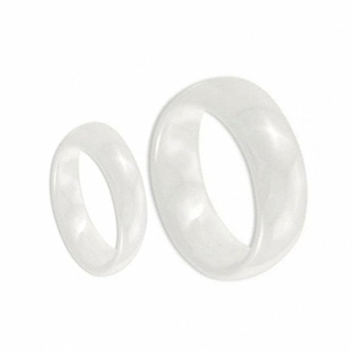 His & Her's 8MM/6MM White Ceramic High Polish Domed Wedding Band Ring Wedding Band Ring Set (Available Sizes 5-10 Including Half Sizes) Please e-mail sizes , Ladies Size 6.5 - Mens Size 10