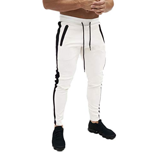 Men's Gym Jogger Pants Slim Fit Workout Running Sweatpants with Zipper Pockets Drawstring Tapered Chino Trousers White (Zara Jeans Men Skinny)