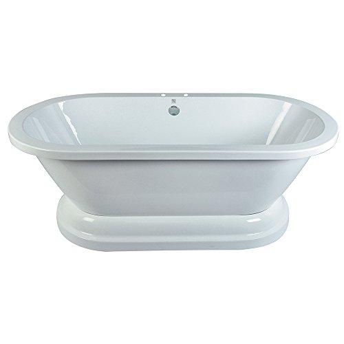 Kingston Brass VT7PE672824P Aqua Eden Contemporary Pedestal Double Ended Acrylic Bath Tub, 66-15/16