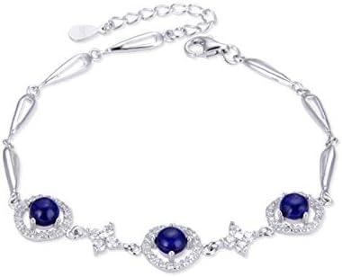 Nobrand 925 Pulsera de Plata de Ley para Las Mujeres joyería Fina con Piedras Preciosas Azul Cristal de Moda Femenino Compromiso Regalo