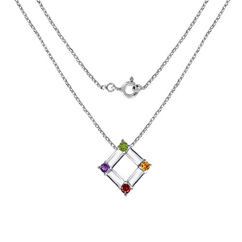 Sterling Silver Pendant For Women | Pendant | 0.5 Carat Multi Amethyst, Garnet, Peridot & Citrine Engagement Pendant by Orchid Jewelry | Simple. Beautiful. Affordable.